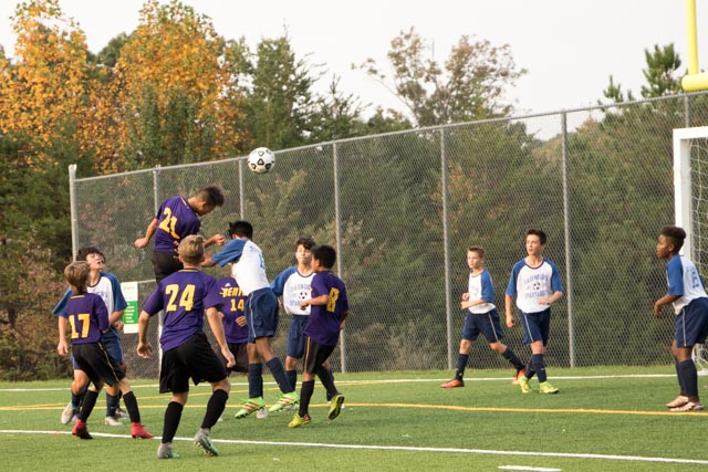 Paul directs a headder on goal in our 6-1 win over Saunders.
